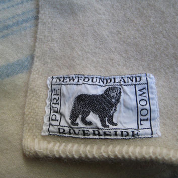 "Vintage Wool Blanket 1950 Cream with Blue Stripes Made in Canada Newfoundland Dog Riverside Clean Gently Used 70 x 76"" Approximately"