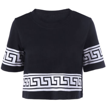 White and Black Ethnic Pattern Crop Top