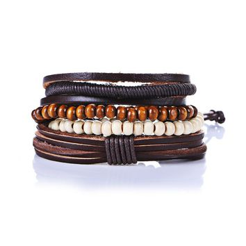Men's Bracelet Stack with Bamboo, Wood, Beads and Leather