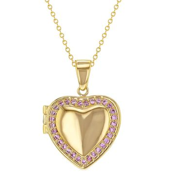 18k Gold Plated Pink Crystal Heart Shaped Photo Locket Pendant Necklace 19""