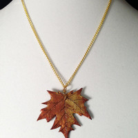 Handcrafted Bronze and Gold Autumn Maple Leaf Pendant Necklace
