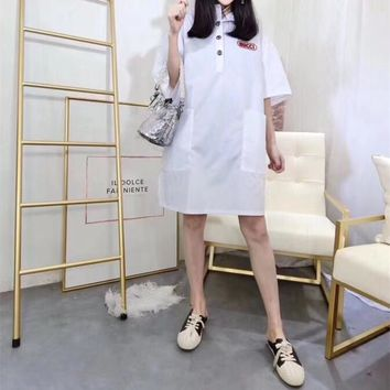 """Gucci"" Women Loose Fashion Multicolor Letter Aladdin Pattern Short Sleeve Buttons Shirt Dress"