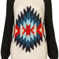 Knitted Aztec Motif Jumper - Sweaters - Knitwear  - Apparel