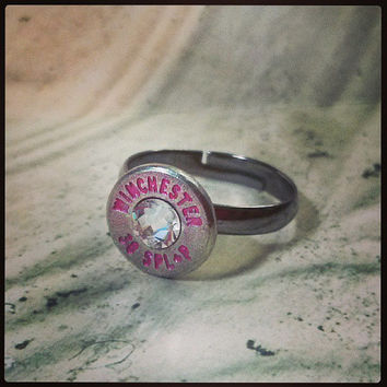 Simplistic Bullet Ring - Nickel and Pink