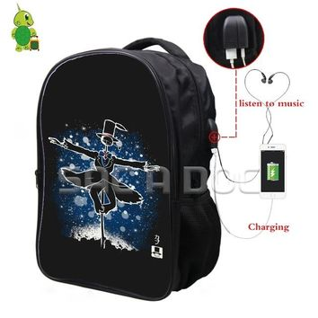 Anime Backpack School Ghibli kawaii cute Howl's Moving Castle Fluorescence Backpack Multifunction USB Charging Headphone Jack School Bags Teens Travel Bag AT_60_4