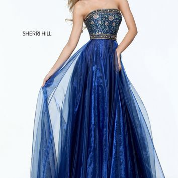 Sherri Hill 50779 Strapless Shimmer Organza Gown