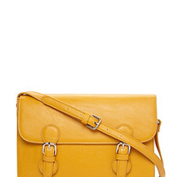 FOREVER 21 Runaround Faux Leather Satchel Yellow One