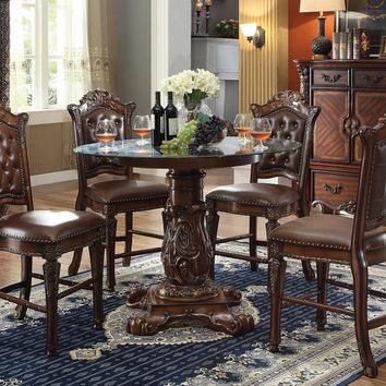 7 pc Vendome III collection cherry finish wood detailed carving round glass top counter height dining table set with tufted back chairs