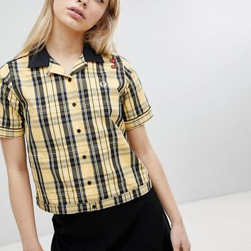 Fred Perry Amy Winehouse Foundation Tartan Check Bowling Shirt at asos.com