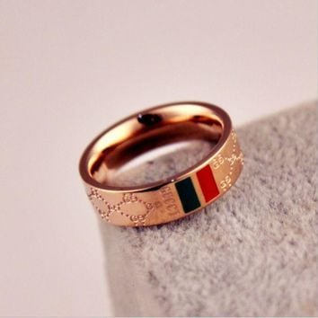 ESBON Perfect GUCCI Woman Fashion Lettering Plated Ring Jewelry