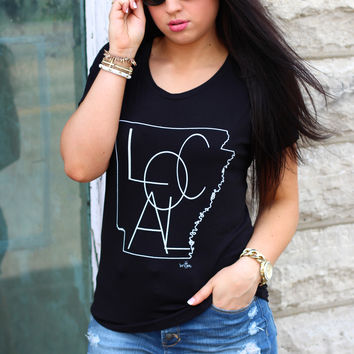 """AR State Outline """"Local"""" Scoop Tee {Black}"""