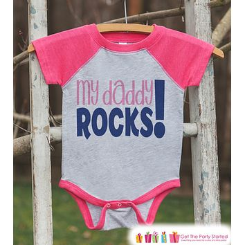 Girls Father's Day Outfit - Pink Raglan Shirt - My Daddy Rocks Top - Happy Father's Day Onepiece or Tshirt - Childrens Raglan Tee - Girls