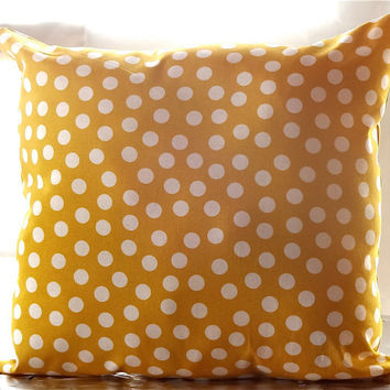 Yellow Pillow. Mustard. Polka Dots. 14x14. Decorative Pillow. Throw Pillow.