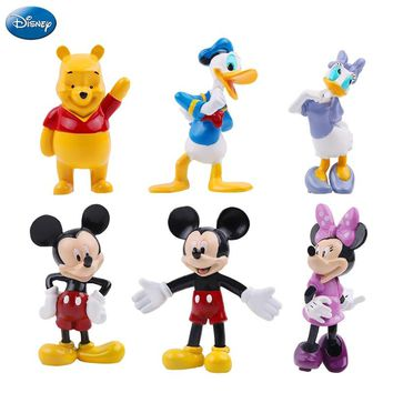 6Pcs Disney Mickey Mouse Minnie Mouse Action Figure Winnie The Pooh Princess Donald Duck Doll Birthday Gift Toys For Children