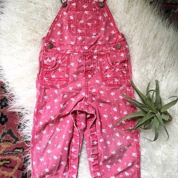 Vintage OshKosh B'Gosh Overalls / Baby or Toddler Girl Overalls / Butterfly Baby Girl Clothes
