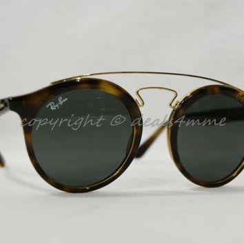 Kalete NWT! Ray-Ban RB 4256 710/71 Gatsby Tortoise Color Round Frame Fashion Sunglasses