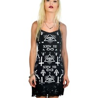Rat Baby Goth Punk Rock Screw You Curse Bodycon Dress