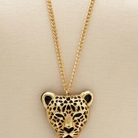 Cougar Pendant Long Necklace: Charlotte Russe