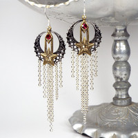 Moon and Star Celestial Chandelier Earrings in Gunmetal, Silver and Brass with Swarovski Elements