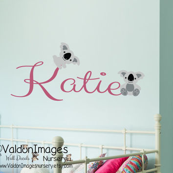 Koala bears with name wall decal, nursery decals, kids room wall decal, nursery decor, personalized wall decal, koala decor, childrens decor