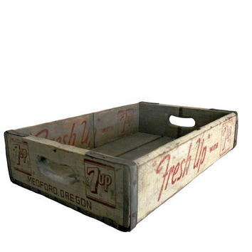 "Vintage Wood Crate 7UP - 1964 White with Red Lettering - ""Fresh Up with 7UP"" - Medford, OR"