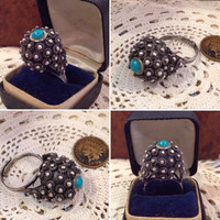 "Vintage artist signed Zuni Sterling Silver Petit Point Turquoise large Ball ring  Rare round turquoise cabochon ball ring 2 1/2"" in diamete"