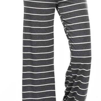 Casual Striped Pants - Charcoal