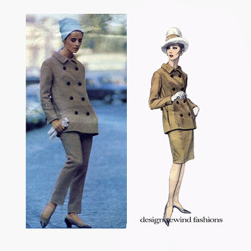 1960s VOGUE JACKET PATTERN Double Breasted Jacket, Pants & Skirt Pattern Fabiani Vogue 1428 Couturier Design Vintage Womens Sewing Patterns