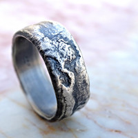 molten silver ring rich structure, mens wedding ring unique, alternative wedding band men, cool engagement ring, reticulated ring silver