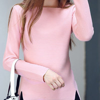 Pink Split Slim Knitwear Sweater