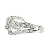 925 Silver .17 TCW Diamond Cocktail Ring - Weave Design Ring Size 7.5