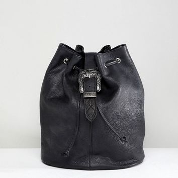 Park Lane Real Leather Western Buckle Backpack at asos.com