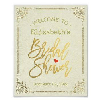Gold Script Floral Frame Bridal Shower Welcome Poster
