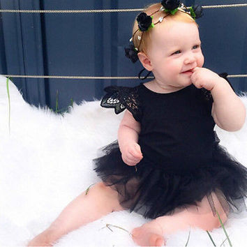 Baby Newborn Girls White Black Lace Tulle Wings Romper  Christening Bodysuit HU