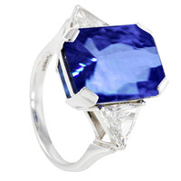 3 stone diamonds 5.01 carat �AAA� tanzanite radiant cut engagement ring