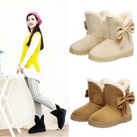 Fashion Warm Bowknot Women's Flats Shoes Snow Women Boots Autumn Winter Shoes