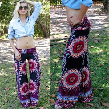 Sexy Women Boho Print Floral Blue Pants Summer Full Length Straight Loose Elastic Waist Low Waist Beach Pants Palazzo Trousers
