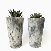 Marble Tall Concrete Planter for Succulents Home Decor Minimalist Simple Design