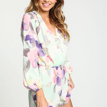 MINT WATERCOLOR FLORAL WRAPPED ROMPER