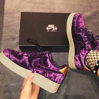 Nike Air Force 1 '07 Premium Velvet Women Sports Shoes Dark Purple