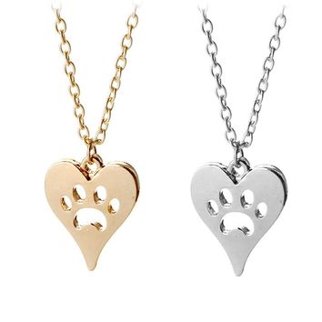 Fashion Heart Hollow Paw Necklace Pet Dog Footprint Love Pendants Animal Dog Cat Paw Prints Necklaces For Women Colar