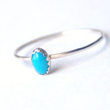 Tiny Turquoise Ring Sterling Silver