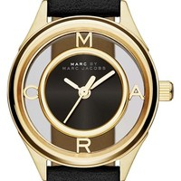 Women's MARC BY MARC JACOBS 'Tether' Skeleton Leather Strap Watch, 25mm - Black/ Gold