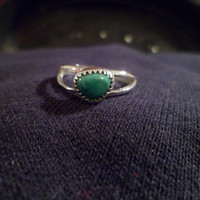 Authentic Navajo,Native American,Southwestern,sterling silver turquoise ring. Can be pinky/knuckle ring.Size 6 1/2