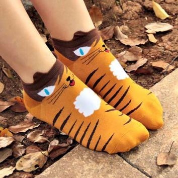 Kitty Cat Face Print Animal Ankle Socks for Women in Mustard Yellow | DOTOLY