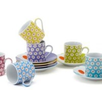 One Kings Lane - Classic Coffee, Tea & More - Set of 6 Daisy Espresso Cups & Saucers