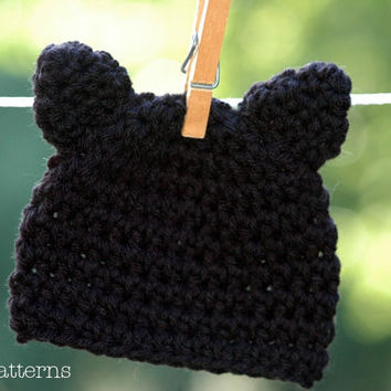 CROCHET PATTERN - Crochet Hat Pattern - Halloween Kitty Cat Hat Pattern - Crochet Patterns Kids - Baby, Toddler, Kids, Adult Sizes - PDF 279
