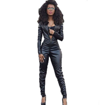 Sexy One Piece Women Rompers Jumpsuits 2016Fashion Long Sleeve Black Jumpsuit Front Zipper PU Patchwork Bodycon Overalls Macacao