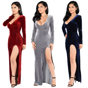 Vintage Velvet Winter Christmas Dress Women Long Sleeve Silm Split Bandage Bodycon Party Dresses Solid Vestido De Festa