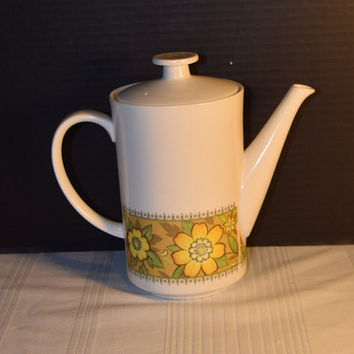 Noritake Progression Festival Coffee Pot Vintage 5 Cup Coffee Pot with Lid Hard to Find 1970s Noritake Replacement Discontinued China